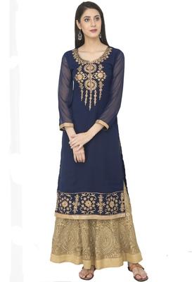 Navy Blue Georgette Dori Embroidery Long Straight kurti