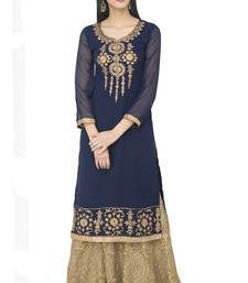 Buy Navy Blue Georgette Dori Embroidery Long Straight kurti long-kurtis online