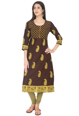 Brown Cotton Block Prints Long Anarkali kurti
