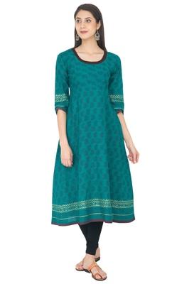 Green Cotton Block Prints Long Anarkali kurti