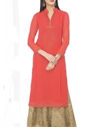 Buy Zoeyams Women's Red Georgette With Chandla Work Long Straight kurti long-kurtis online