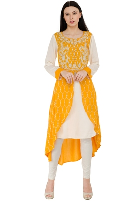 Yellow Rayon Embroidery Long A-line kurti