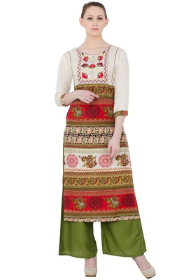 Multicolor Rayon Aari Embroidery  Long Straight Kurti