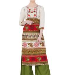 Multicolor Rayon Aari Embroidery  Long Straight Kurti