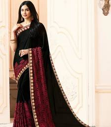 Buy Black printed georgette saree with blouse women-ethnic-wear online