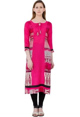 Pink Rayon Digital prints Long Anarkali Kurti