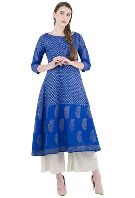 Blue Cotton Screen Prints Long Anarkali kurti