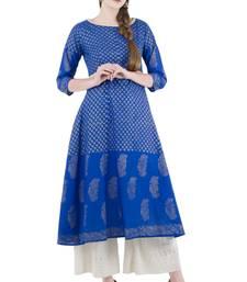 Buy Blue Cotton Screen Prints Long Anarkali kurti long-kurtis online