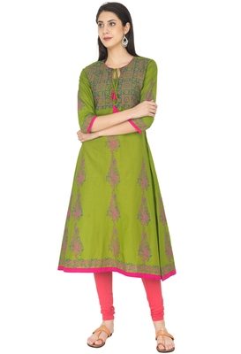Mehendi Green Cotton Block Prints Long Anarkali kurti