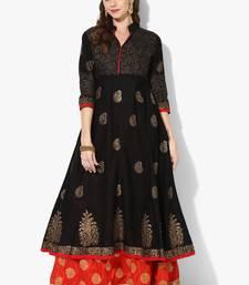 Buy Black Cotton Block Prints Long Anarkali kurti long-kurtis online