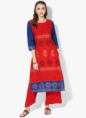 Red Cotton Block Prints Long Straight kurti