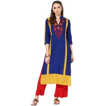 Blue Cotton Embroidery Long Straight kurti