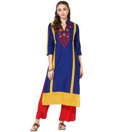 Blue Cotton Embroidery Long Straight kurti