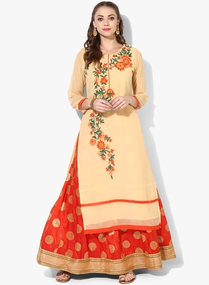 Beige Georgette Dori Embroidery Long Straight kurti