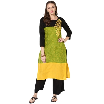 Multicolor Cotton Block Prints Long Straight kurti