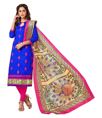 Blue embroidered cotton salwar
