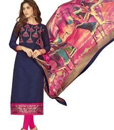 Buy Blue embroidered cotton salwar salwars-and-churidar online
