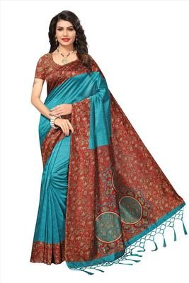 Cyan printed tussar silk saree with blouse