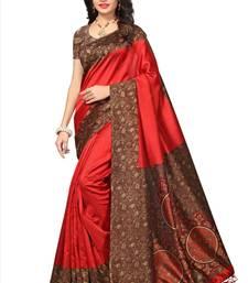 Buy Red printed tussar silk saree with blouse kalamkari-saree online