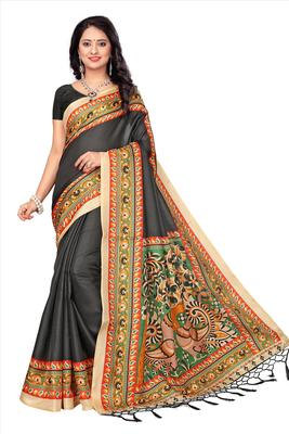 Multicolor printed pure khadi saree with blouse