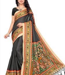 Multicolor printed pure khadi saree with blouse kalamkari-saree