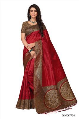 Maroon printed tussar silk saree with blouse