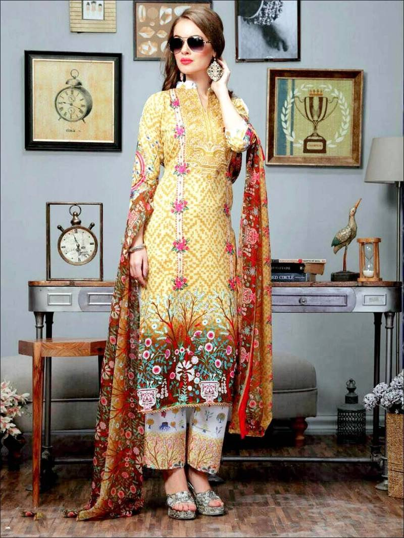 39450ef923 Yellow designer cotton satin unstitched pakistani suit - Zoharin ...