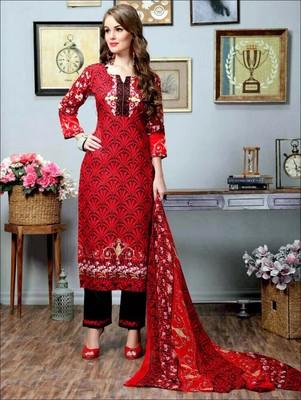 8d609d667a Red designer cotton satin unstitched pakistani suit - Zoharin - 2573815