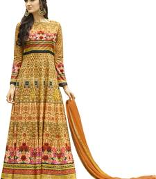 Buy Orange printed Jersey cotton semi stitched salwar with dupatta anarkali-salwar-kameez online