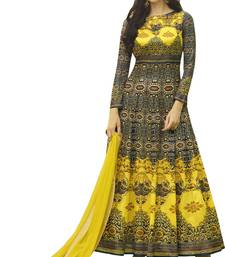Buy Yellow printed Jersey cotton semi stitched salwar with dupatta anarkali-salwar-kameez online