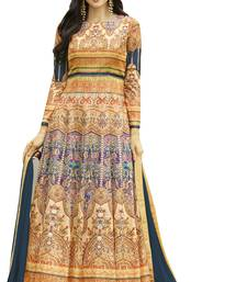 Buy Cream printed Jersey cotton semi stitched salwar with dupatta anarkali-salwar-kameez online