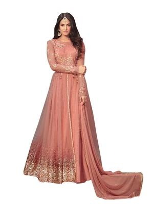 cd9237d598 Peach Colour embroidered work net designer salwar suit. - HITANSH ...