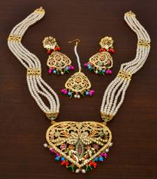 Gold plated pearl and stone embellished jadau necklace rani haar cum earring set