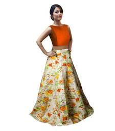 Buy Orange printed satin semi stitched lehenga crop-top-lehenga online