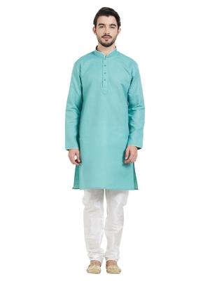 Green cotton poly traditional solid kurta pajama