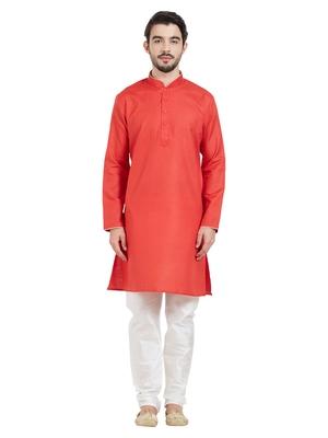 Red cotton poly traditional solid kurta pajama