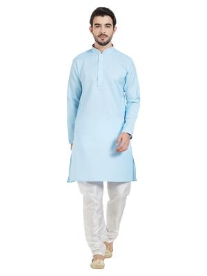 Blue cotton poly traditional solid kurta pajama