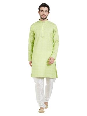 Green cotton poly traditional self design kurta pajama