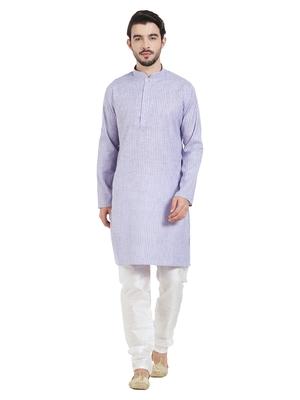 Purple Cotton Poly Traditional Self Design Kurta Pajama