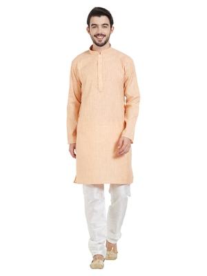 Orange Cotton Poly Traditional Self Design Kurta Pajama