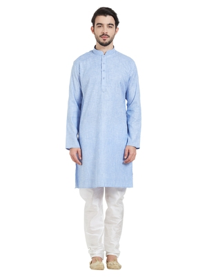 Blue Cotton Poly Traditional Self Design Kurta Pajama