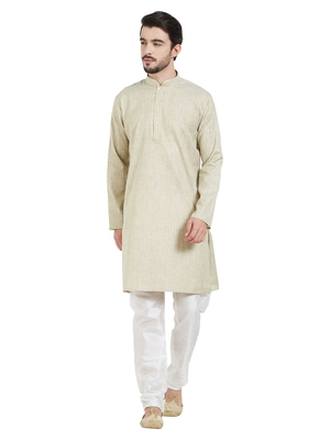 Green Cotton Poly Traditional Self Design Kurta Pajama