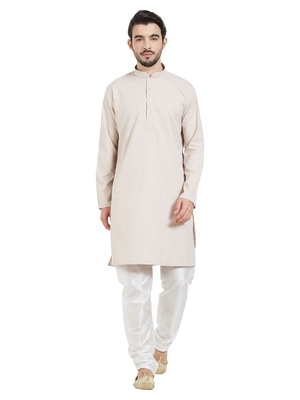 Beige Cotton Poly Traditional Solid Kurta Pajama