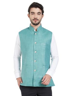 blue cotton poly nehru jacket