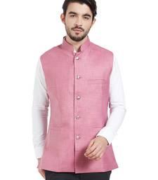 pink cotton poly nehru jacket