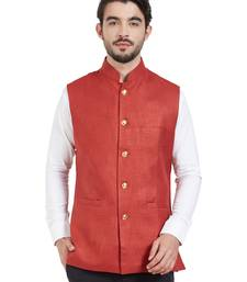 maroon cotton poly nehru jacket
