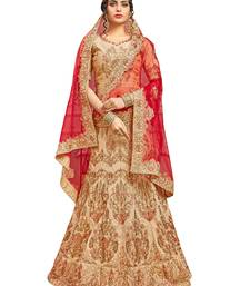 Buy Beige pure silk a line semi stitched lehenga choli lehenga-choli online