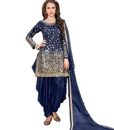 Buy Blue embroidered taffeta salwar with dupatta women-ethnic-wear online