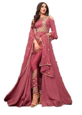 Dark-pink embroidered georgette salwar with dupatta