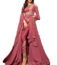 Buy Dark-pink embroidered georgette salwar with dupatta anarkali-salwar-kameez online